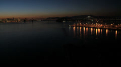 Aerial illuminated view Fishermans wharf San Francisco, USA Stock Footage