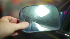 Broken rear view rearview mirror 2 Stock Footage