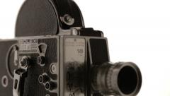 Slow Tilt Down to Bolex 16mm Film Camera Stock Footage