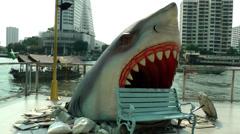 Thailand Bangkok 106 Chao Phraya River, head of shark coming through the floor Stock Footage