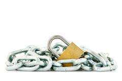 Stock Photo of metal chain and yellow padlock