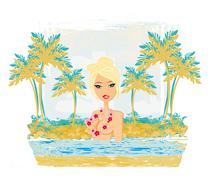 Stock Illustration of grunge banner with palm trees and sexy girl