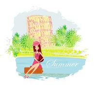 Stock Illustration of beauty travel girl with baggage