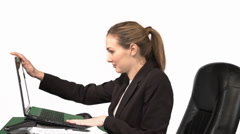 Business Woman fixes Monitor to be Eye Level Stock Footage