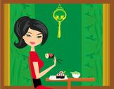 Stock Illustration of beautiful girl enjoy sushi