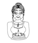 Old lady carry birthday cake Stock Illustration
