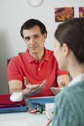 woman in consultation, dialogue - stock photo