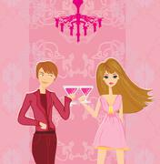 Young couple flirt and drink champagne Stock Illustration