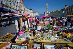 Linz, austria, old town, flea market Stock Photos