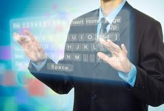 Hands pushing a button on a touch screen Stock Illustration