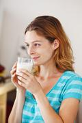woman, dairy product - stock photo