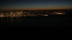 Aerial illuminated view Fishermans wharf, San Francisco Bay, USA Stock Footage