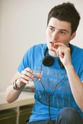 teenager taking medication - stock photo