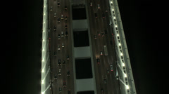 Aerial illuminated New Oakland Bay Bridge San Francisco, USA - stock footage