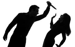 Couple man killing woman  silhouette Stock Photos