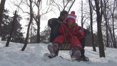 Father, Little Girl Sledding in Park, Adult Man, Child Sledging on Sled, Winter Stock Footage