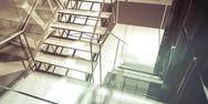 Stock Illustration of hallway. modern office interior, stairs, clean space in business building