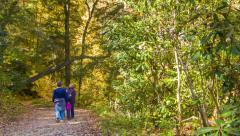 Family Walking Along Hiking Path in Blue Ridge Mountains Stock Footage