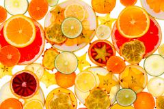Healthy tropical fruit and citrus background Stock Photos
