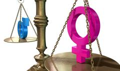Gender equality balancing scale Stock Illustration