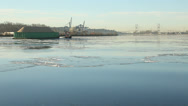 Stock Video Footage of Sawdust Barge and Tugboat on Icy Fraser River