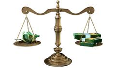 Inequality scales of justice income gap australia Stock Illustration