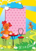 Portrait border with teddy bears for a little baby girl. Stock Illustration