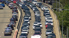 Cars stuck in heavy Sydney traffic during a hot summer's day PT2 Stock Footage