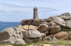 Historic lighthouse at perros-guirec Stock Photos