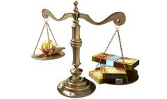 Stock Illustration of inequality scales of justice income gap south africa