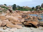 Stock Photo of pink granite stones around perros-guirec