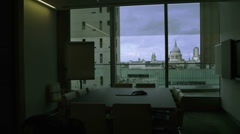 Time lapse interior view of empty meeting room in a london city office Stock Footage