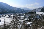 Stock Photo of viewpoint at gassho-zukuri village, shirakawago, japan
