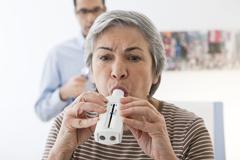 Breathing, spirometry elderly p. Stock Photos