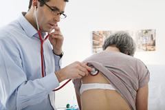Auscultation, elderly person Stock Photos