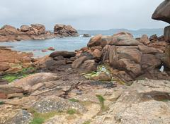 idyllic coast around perros-guirec - stock photo