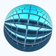 spherical laptops 4 with cyan screens - stock illustration