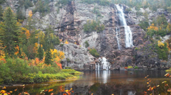 Bridal Veil Falls is found in Agawa Canyon in Ontario, Canada. Stock Footage