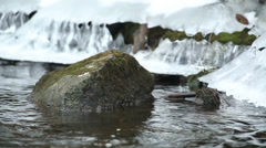 Rock at river bank in winter scenery Stock Footage