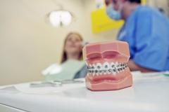 Orthodontics, adolescent Stock Photos