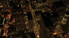 Aerial overhead illuminated view Skyscrapers, San Francisco, USA - stock footage