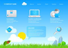 Stock Illustration of website eco friendly business / cartoon stylish template.