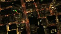 Aerial overhead illuminated view Skyscrapers, San Francisco, USA Stock Footage