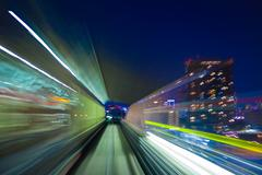 Zooming light trails from a speeding train Stock Photos