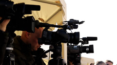 Camera in media press Stock Footage