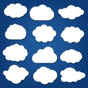 cartoon clouds set - stock illustration