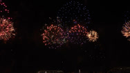 Stock Video Footage of New Year party in Rio de Janeiro  with a great fire work at the beach copacabana