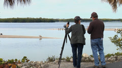 Birding at Ding Darling Wildlife Refuge - Florida Stock Footage