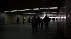 Crowds in underground passage under Tiananman Square, Beijing Stock Footage