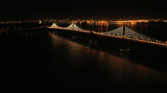 Aerial night view Interstate 80 Bay Bridge, San Francisco, USA - stock footage